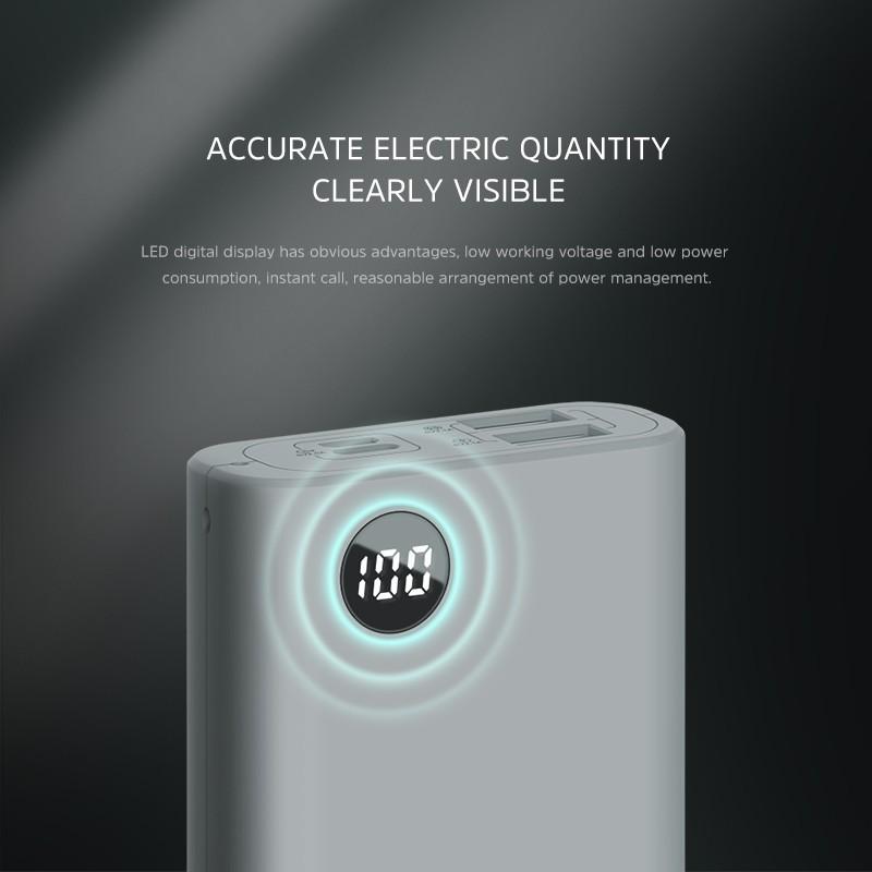 【Quà tặng:  đèn LED】 KIVEE PF23P 10000mAh Power Bank, Dual USB Ports with LED Light for Charging iPhone / Xiaomi  / Huawei / Samsung