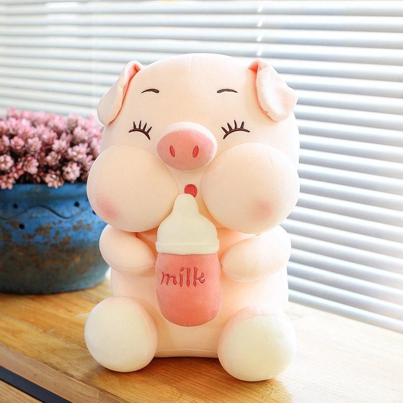Gấu Bông Heo Ôm Bình Sữa, Heo Milk Hàng Nhập Khẩu Siêu Xinh,Siêu Hot