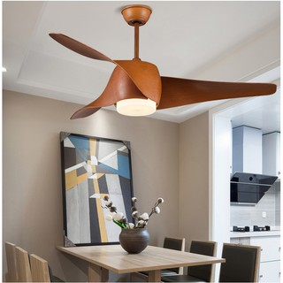 Đèn Quạt Trần phong cách MỸ Đặc Biệt, Quạt trần phòng khách hiện đại [3 cánh nhựa vân gỗ 52inch, Đèn LED] SLY80242