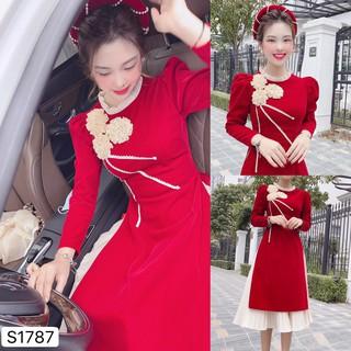 Set áo dài nhung đỏ cách tân hoa 3D S1787 - Đẹp Shop DVC - Kèm ảnh thật trải sàn do shop tự chụp thumbnail