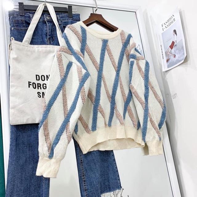 Áo len kẻ hoạ tiết thời trang | BigBuy360