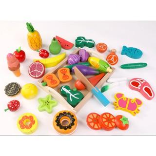 Bộ cắt hoa quả, rau củ, thực phẩm, bánh ngọt bằng gỗ – hàng xuất Nhật cao cấp