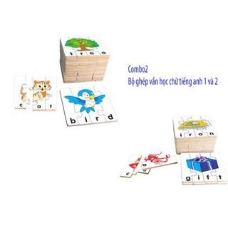Combo bộ ghép hình học chữ tiếng anh 1 và 2