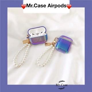 Case Airpods 1/2 Pro Vỏ Ốp Đựng Tai Nghe Màu Xanh Ngọc Trai Kèm Dây Ngọc Trai Xinh -Mr.Case Airpods
