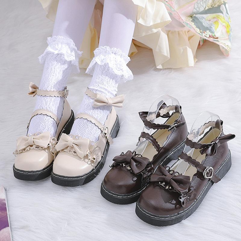 Giày Da Bít Mũi Phong Cách Lolita Nhật Bản