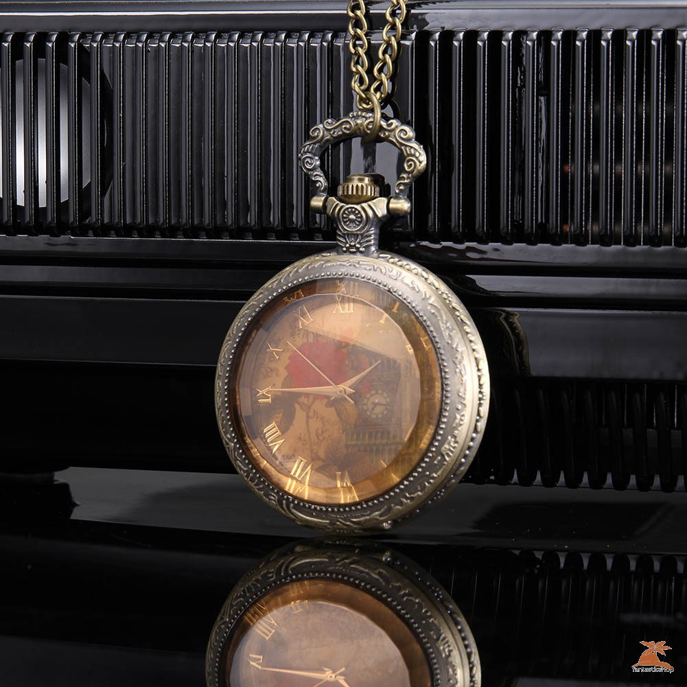 #Đồng hồ bỏ túi# Men Women Quartz Pocket Watch Retro Rose Big Ben Dial with Chain