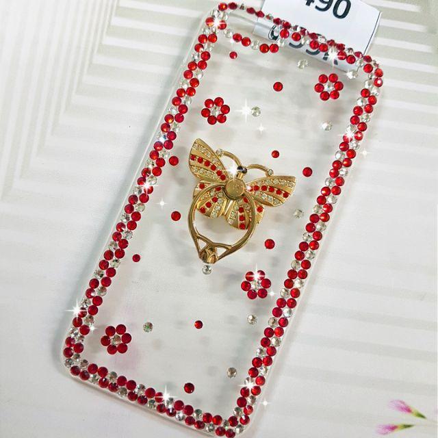 [Ốp Lưng] Handmade Đính Đá iring Bướm đỏ Ms 490