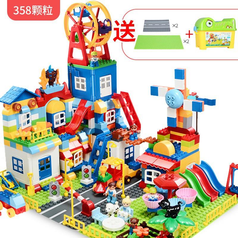 HAT-Lego Duplo FEELO Công viên và Cối xay gió 358khối kèm thùng đựng và 4 tấm nền NLG0038-10