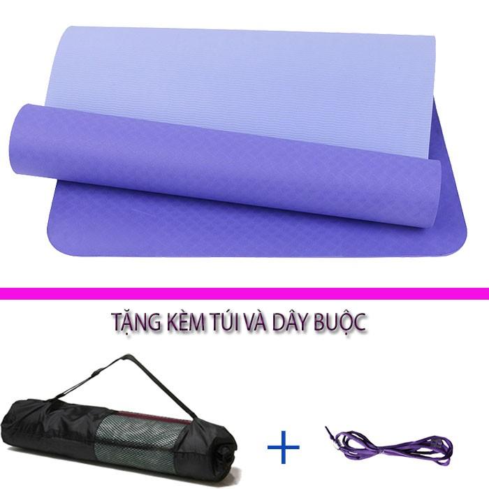 Thảm tập yoga TPE 6mm 2 lớp Đài Loan cao cấp + Tặng kèm túi và dây buộc thảm