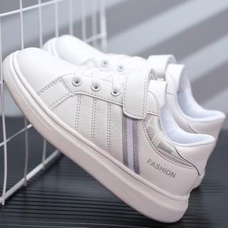 Giày trắng bé trai bé gái học sinh tiểu trung học hàng xuất siêu chất GE47 (giày cho bé 6 – 15 tuổi)