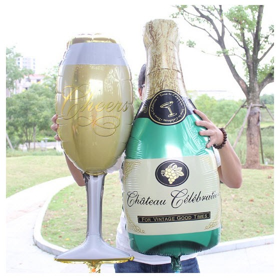 Bóng lẻ set ly rượu và champagne size to