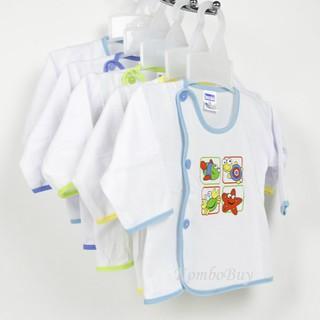 Áo sơ sinh dài tay màu trắng, cúc lệch, viền màu Bosini cho bé từ sơ sinh đến 11kg thumbnail