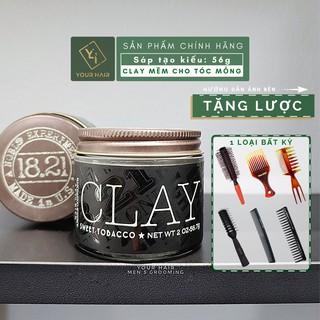 [Tặng Lược] Sáp vuốt tóc 18.21 Man Made Clay - 56gr - Chính hãng USA - Chọn LƯỢC ở mục MUA ĐỂ NHẬN QUÀ