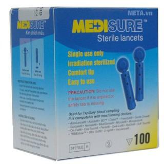 Kim lấy máu thử tiểu đường Medisure, dụng cụ chích máu thử đường huyết - Hộp 100 kim [Halongstars] thumbnail