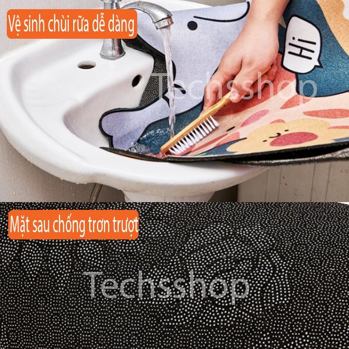 Bộ 2 Thảm Trải Sàn Nhà Bếp Có Chống Trơn Trượt Họa Tiết 3D Sôi Động - Thảm Thấm Nước Nhà Tắm