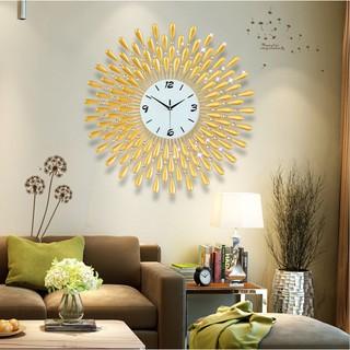 Đồng hồ treo tường trang trí  họa tiết hướng dương giọt sương phong cách hiện đại tiêu chuẩn châu Âu