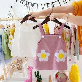 Set bé gái - Set áo dài tay cổ sen + yếm hình bông hoa siêu đáng yêu cho bé -set váy đầm cho bé gái 3m đến 3 tuổi