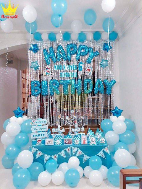 Combo trọn bộ set bàn+ set bóng, rèm đầy đủ phụ kiện trang trí sinh nhật cho bé