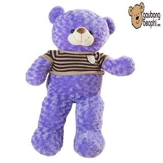[ RẺ VÔ ĐỊCH ] Gấu teddy áo len cao cấp màu tím khổ vải 80cm