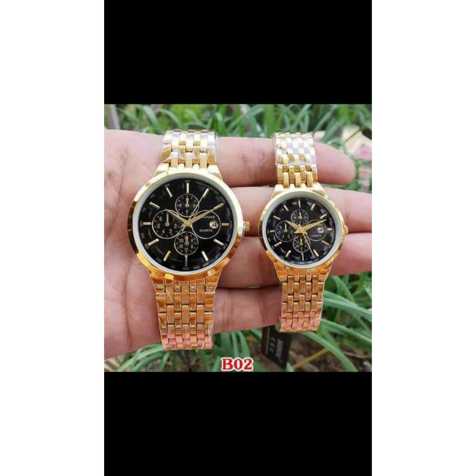 Đồng hồ đôi đeo tay nam nữ chính hãng Baishuns dây kim loại chống nước thời trang giá rẻ