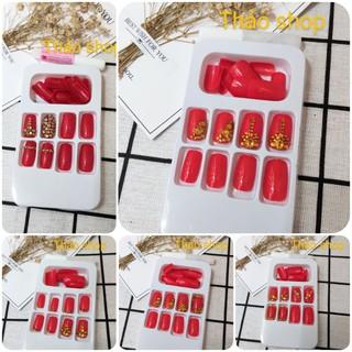 [Ảnh thật]Set 24 móng giả màu đỏ sáng thiết kế chống nước đính đá nhân tạo cao cấp( tặng kèm keo)