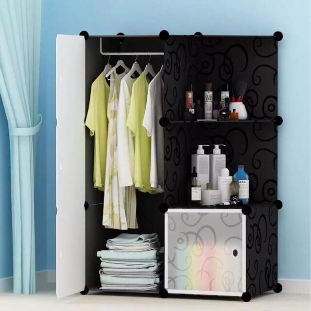 TỦ nhựa ghép- tủ quần áo- tủ 6 ô ( 4 ô và 2 kệ góc để đồ đa năng). Có 1 móc treo quần áo