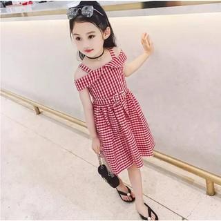 Váy công chúa bé gái 💖FREESHIP💖 Váy công chúa cao cấp kẻ caro, hở vai, cổ lá sen, eo thắt dây đai phong cách Hàn Quốc