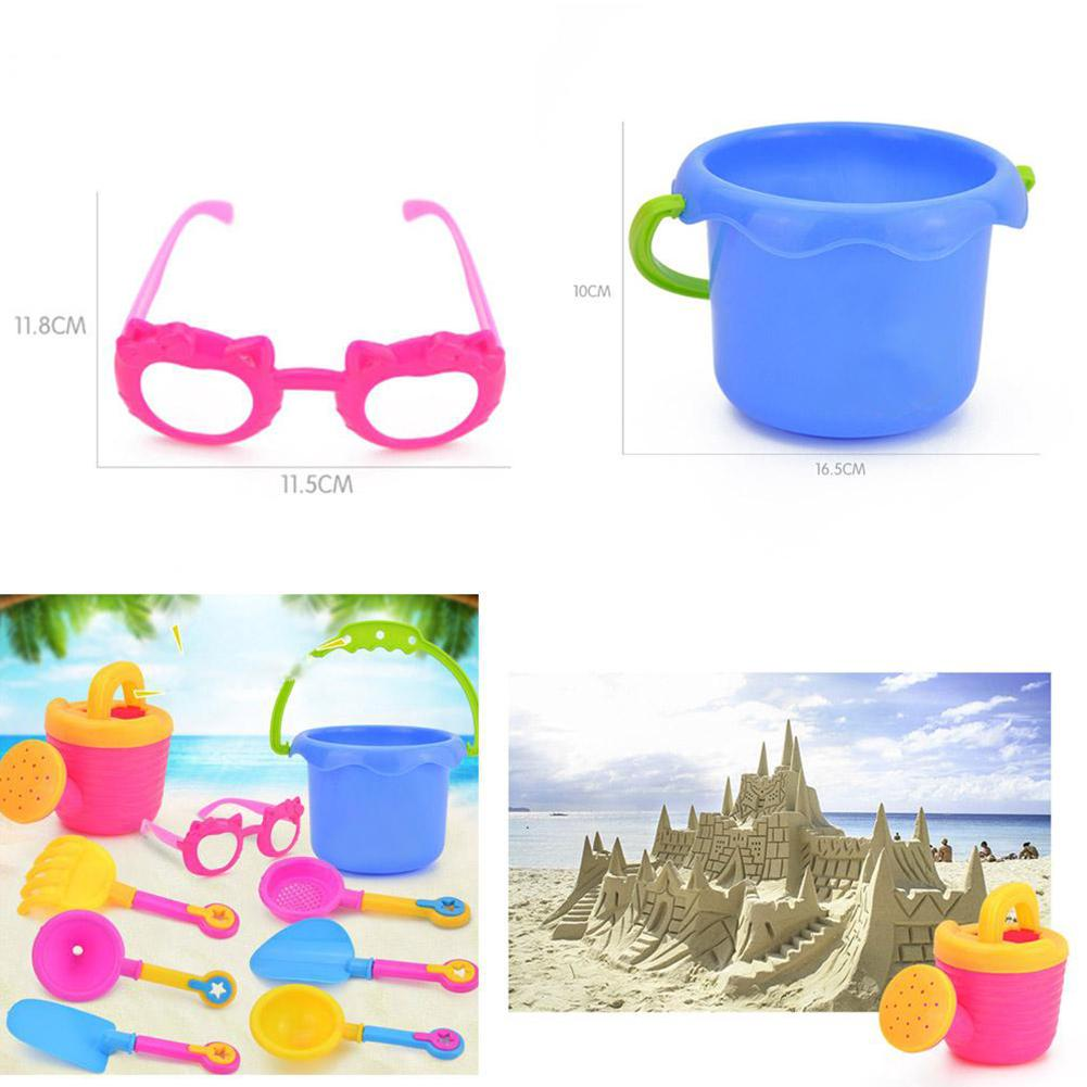 9pcs/Set Toy Set Simulation Seaside Gifts Kettle Bucket Plastic Glasses Sand Play Water Funnel Colorful Random Color