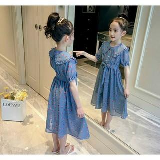 Đầm Voan Bé Gái Họa Tiết Chấm Bi Cổ Lá Sen Nữ Tính