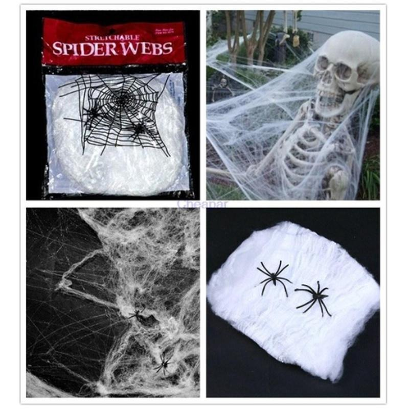 2018 Halloween Scary Party Scene Props White Stretchy Cobweb Spider Web Horror H