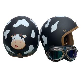 Mũ Bảo Hiểm 3 4 Bò Sữa - Lót Nâu Chính Hãng SRT Màu Đen (Tặng Kèm Sticker) thumbnail