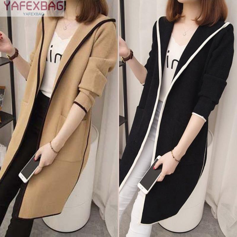 Áo khoác Cardigan tay dài có nón thời trang cho nữ