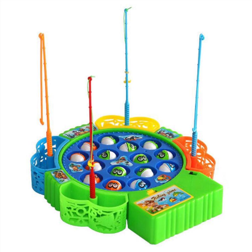 Electric Rotating Fish Fishing Game Kids Children Educational Toy Color Random