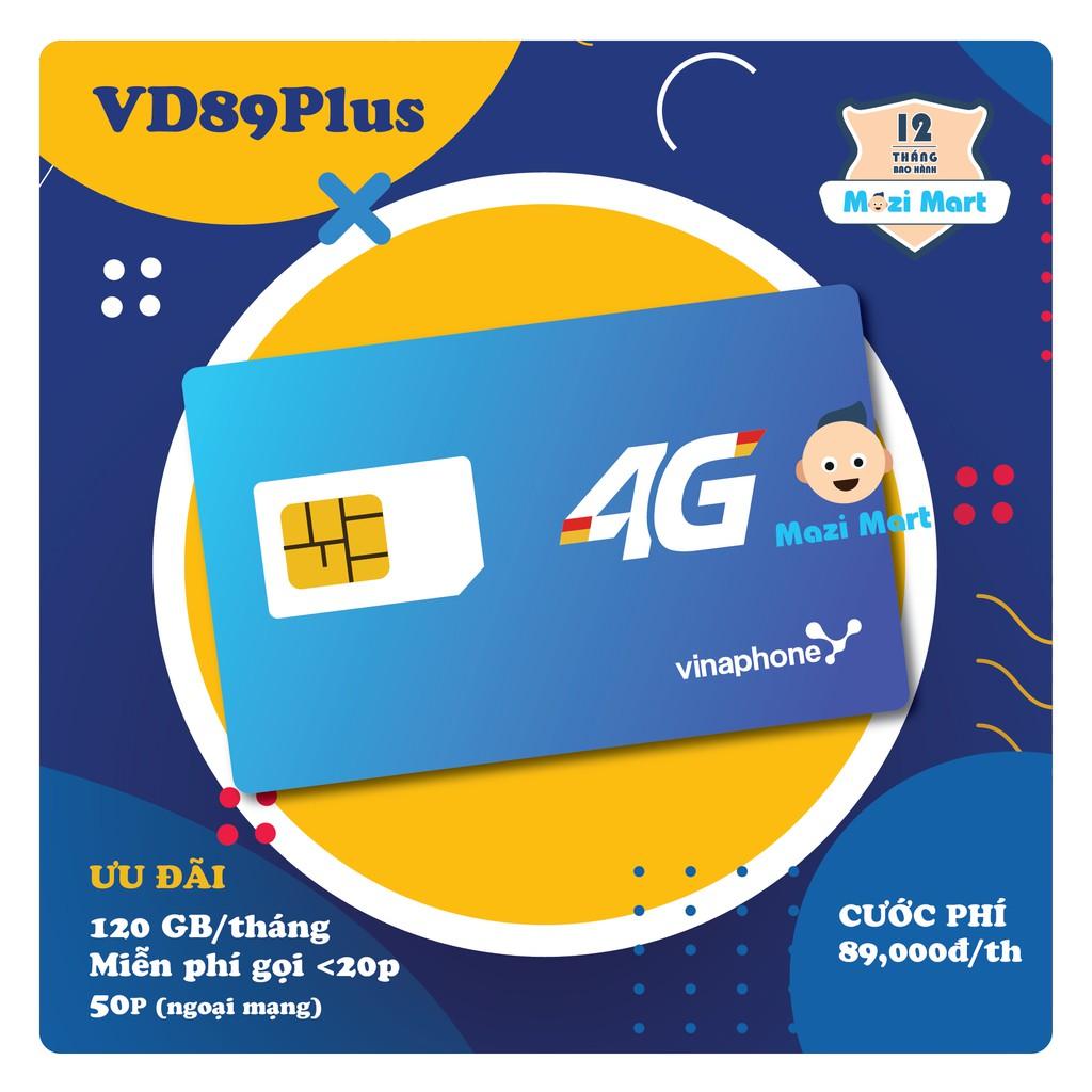 Sim 4G VD89Plus 120Gb/tháng - Miễn phí gọi