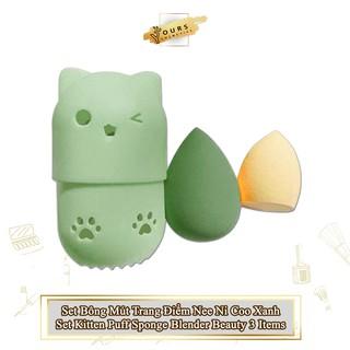 [Auth Thái] Set Bông Mút Trang Điểm Màu Xanh Nee Ni Coo Set Kitten Puff Sponge Blender Beauty 3 Items