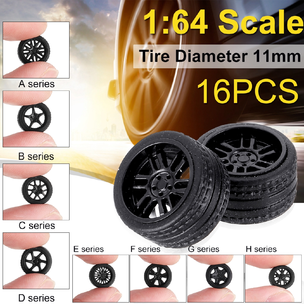 16Pcs Wheel ABS Rubber Tire Rims Axle for 1:64 Wheel Modified Model