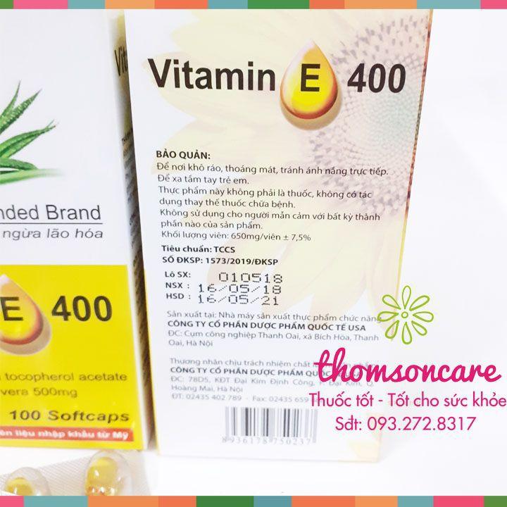 Viên uống Vitamin E 400 Giúp làm đẹp da - Hộp 100 viên Chính hãng