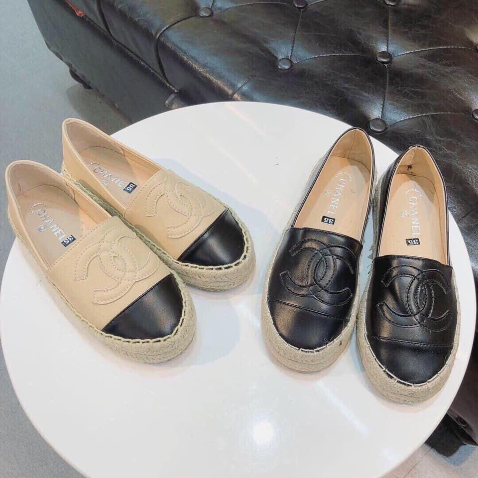 Giày slip on da mịn viền cói hàng đẹp