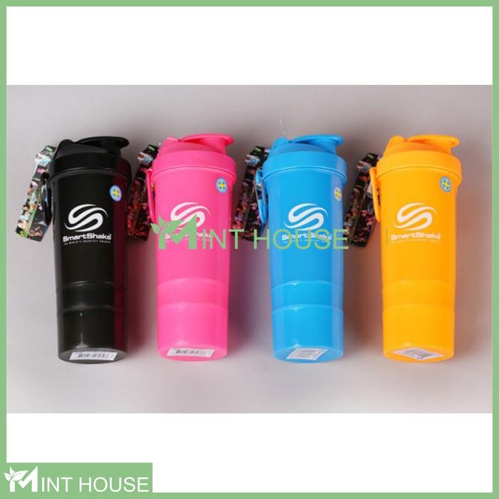 Bình lắc tập gym bình nước thể thao smart shake 3 ngăn 400ml
