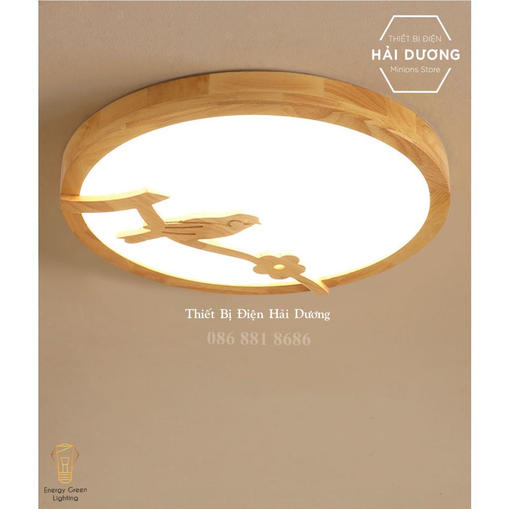 Đèn LED Ốp Trần Gỗ Hình Tròn Trang Trí Hình Chú Chim OT-98307 - Đường Kính 30cm - 3 Chế Độ Ánh Sáng - Có video