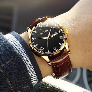 (Tặng kèm vòng tì hưu) Đồng hồ nam OLEVS dây da cực đẹp sang trọng