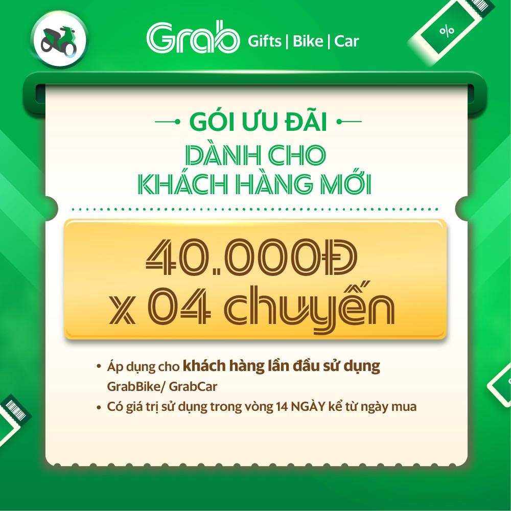 Người mới [E-Voucher] Gói ưu đãi 40k x 4 chuyến xe GrabBike, GrabCar đầu tiên