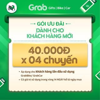 Hình ảnh Người mới [E-Voucher] Gói ưu đãi 40k x 4 chuyến xe GrabBike, GrabCar đầu tiên-0