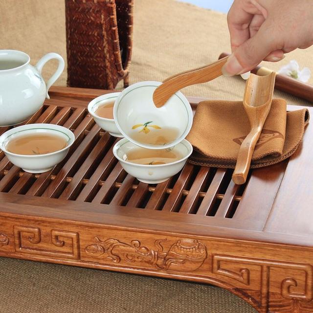Phụ kiện bàn trà 3 món : muỗng múc trà tre , gắp trà tre , khăn lau trà