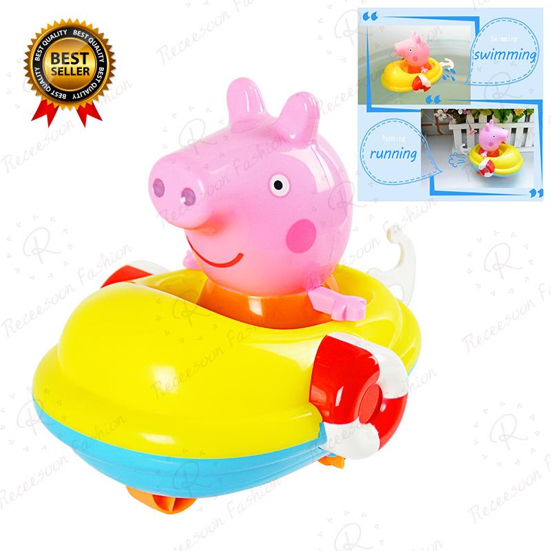 Peppa Pig Bath Toys For Baby Kids Clockwork Boat Car Bathroom Shower Swimming Toy