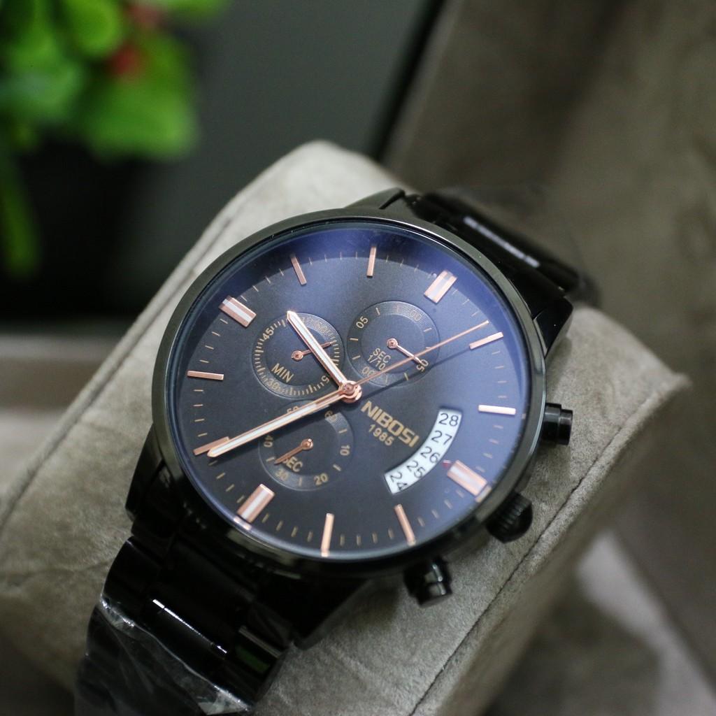 Đồng hồ nam NIBOSI chính hãng dây thép đen, chạy 6 kim có lịch ngày BH 12 tháng - NIBI2
