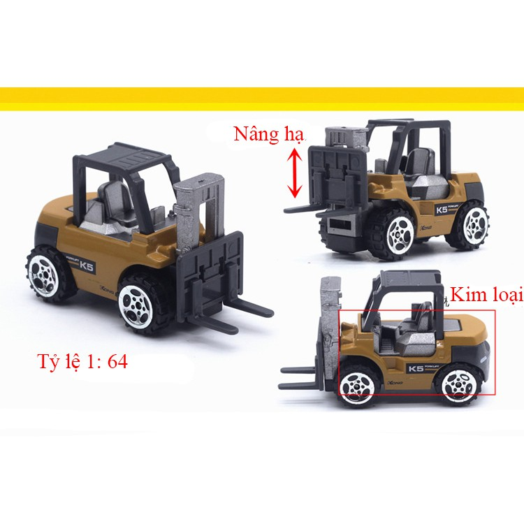 Xe công trình xây dựng bằng kim loại gồm 6 xe chi tiết sắc sảo, an toàn cho bé, dùng làm đồ chơi trẻ em hoặc trang trí