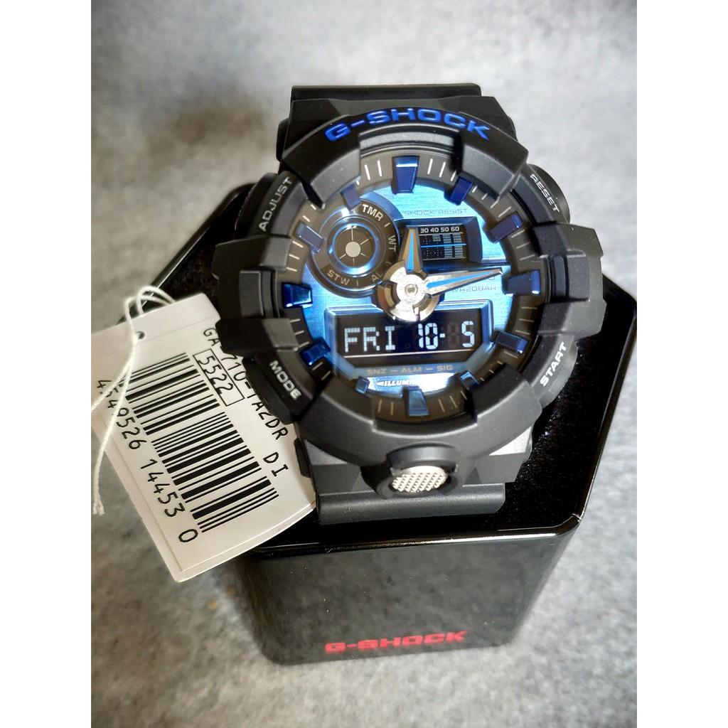 Đồng hồ nam Casio G-SHOCK GA-710-1A2DR Chính hãng - Dây đen mặt xanh - Chống nước 20