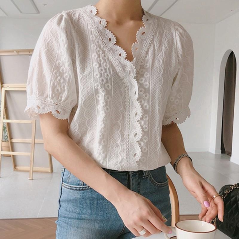 Áo kiểu tay phồng cổ chữ V màu trơn thời trang Hàn Quốc cho nữ