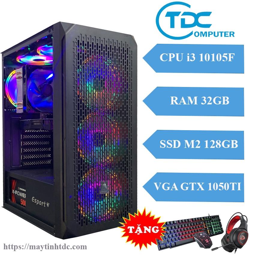 Máy tính chơi game PC Gaming cấu hình khủng CPU core i3 10105F, Ram 32GB,SSD M2 128GB, Card 1050TI + QUÀ TẶNG